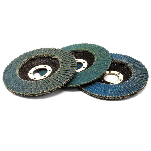 Set of 3 115mm Flap Discs (40, 80, 120 Grit)