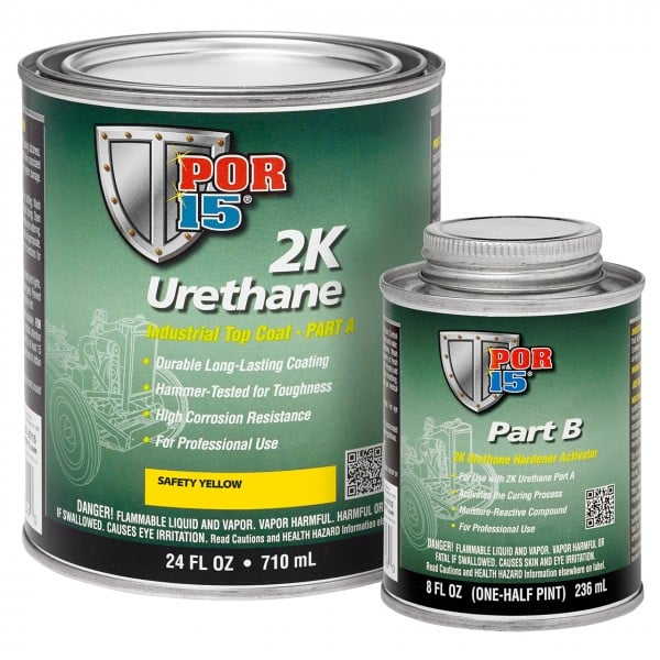 POR15 2K Urethane YELLOW - Two Component Coating (aka Hardnose) (US Quart, 946ml)