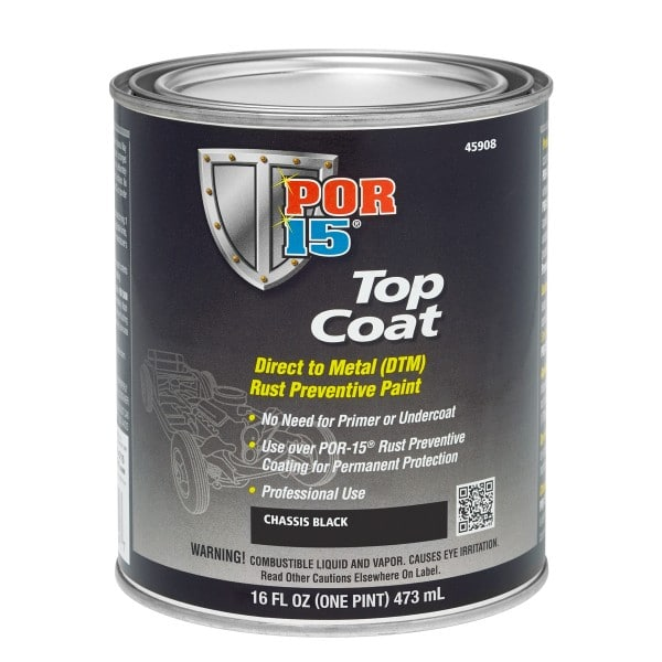 POR15 Top Coat Chassis Coat Black 473ml (US Pint)