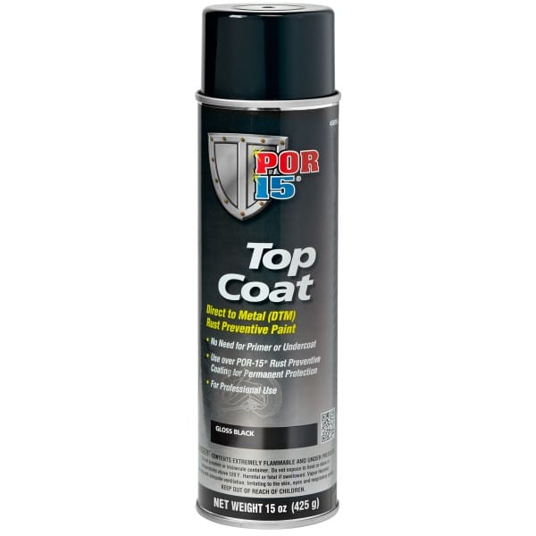 POR15 Top Coat Glossy Black Paint (BlackCote) Aerosol (368g )