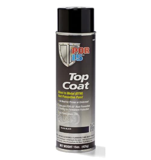 POR15 Top Coat Glossy Black Paint (BlackCote) Aerosol (368g)