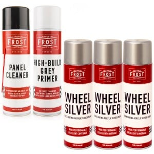Alloy Wheel Silver Paint Aerosols Kit (Paint, Primer and Cleaner)