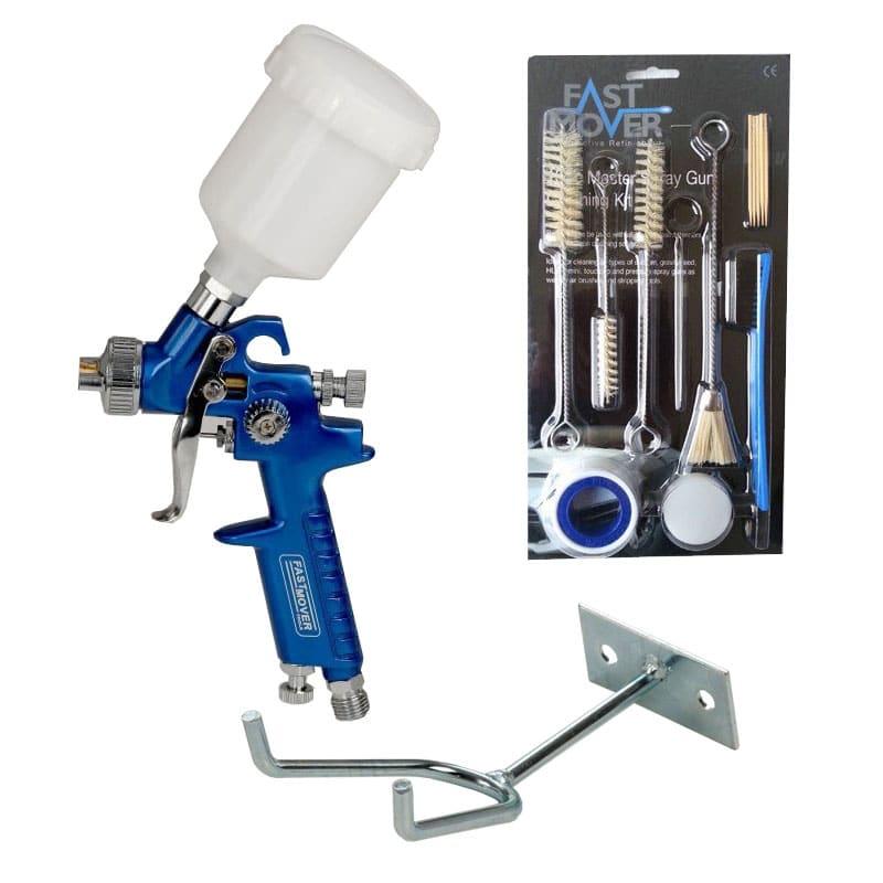 Hvlp Spray Gun Kit >> Hvlp Mini Gravity Feed Detail Spray Gun C W Free Cleaning Kit And Holder