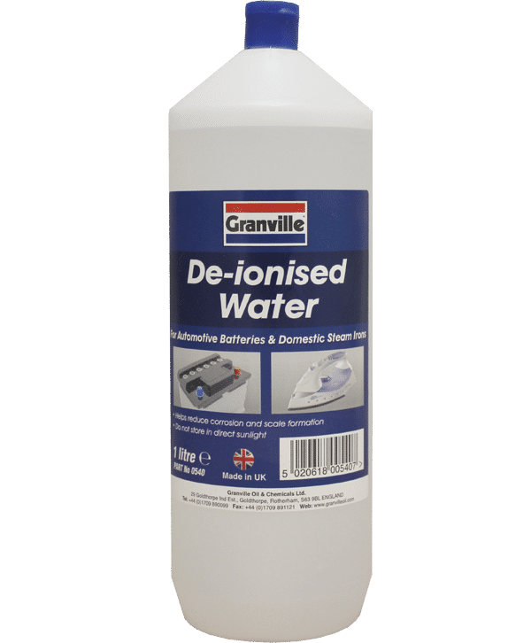Granville De-Ionised Car Battery Top Up Water for Steam Irons / Lead-Acid Batteries (1L)