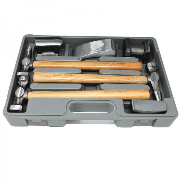 Panel Beating Hickory Handle Hammer and Dolly Set (7 pieces)