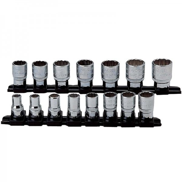 "USAG 15 Piece Metric Bihexagonal Socket - Set 3/8"" Drive"