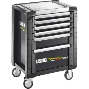 USAG Racing 519 Roller Cabinet - 6 Drawers - Black RAL 9004-0