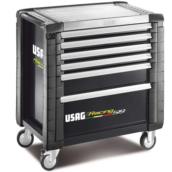 USAG Racing 519 Roller Cabinet Red - 6 Drawers - 4 Modules - Black