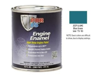 POR15 Jeep and AMC Blue Green Engine Enamel Paint (473ml)