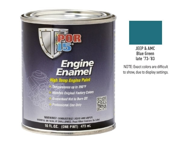 POR15 Jeep and AMC Blue Green Engine Enamel Paint (473ml)