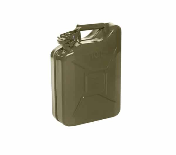 10L Olive Green Metal Fuel Jerry Can (Powder Coated Inside & Out