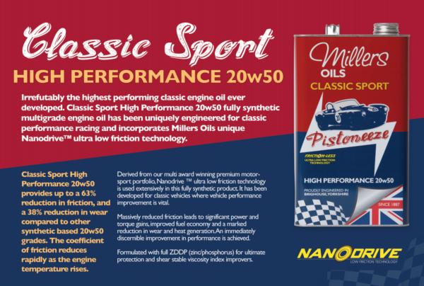 Millers Oils Pistoneeze Classic Sport HIGH PERFORMANCE 20w50 (5L) Engine Oil-14628